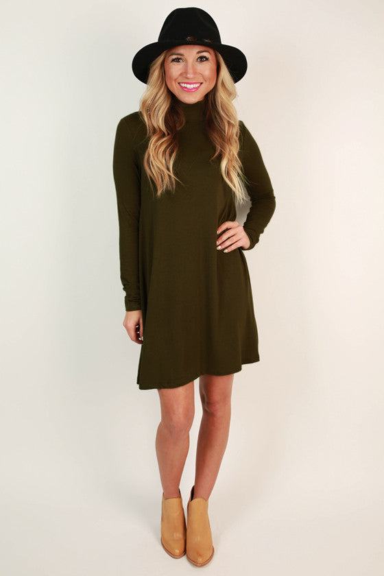 All The Perks Shift Dress in Army Green