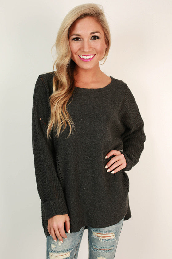 Cottage Cozy Tunic Sweater in Charcoal