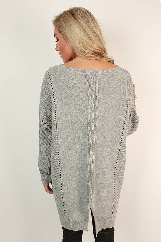 Cottage Cozy Tunic Sweater in Grey