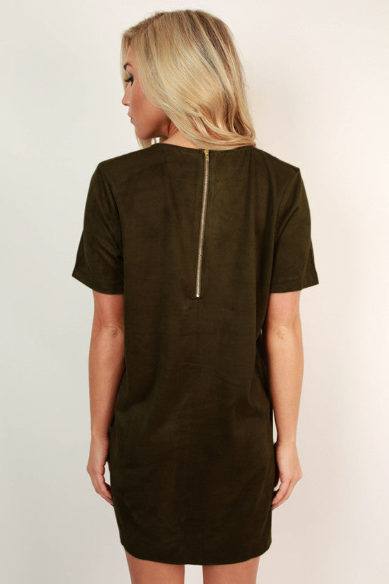 Ladies First Faux Suede Shift Dress in Army Green