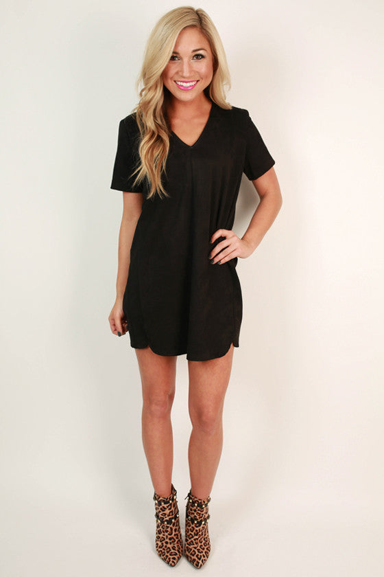 Ladies First Faux Suede Shift Dress in Black
