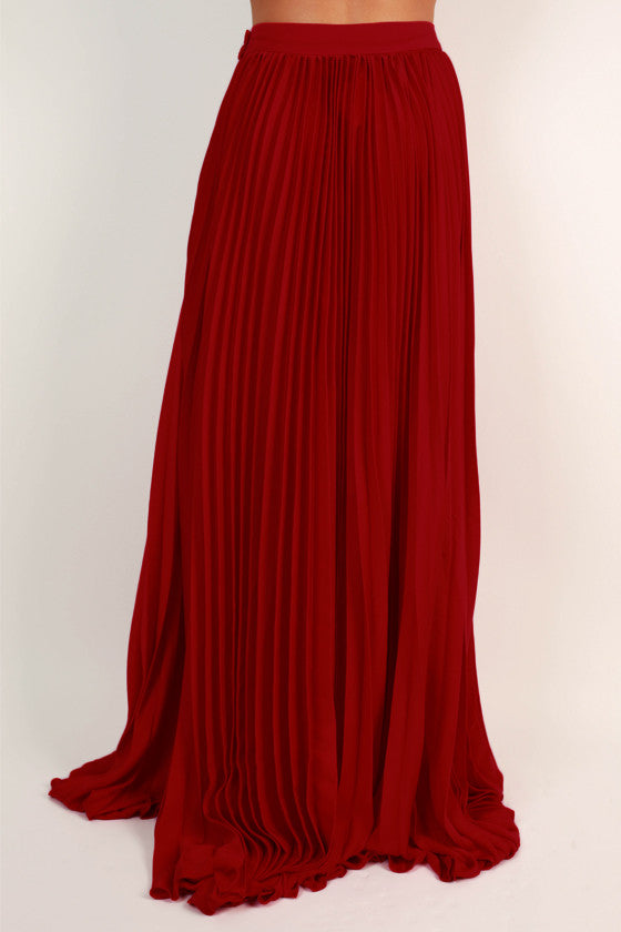 Pleat Me Pretty Maxi Skirt in Red