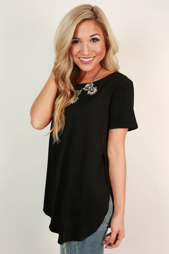 Jet Set To France Faux Suede Top in Black