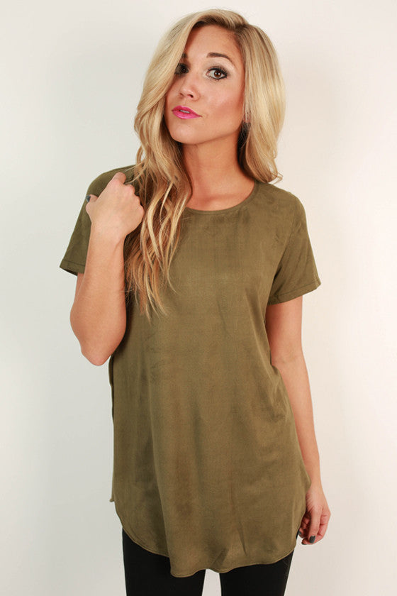 Jet Set To France Faux Suede Top in Light Olive