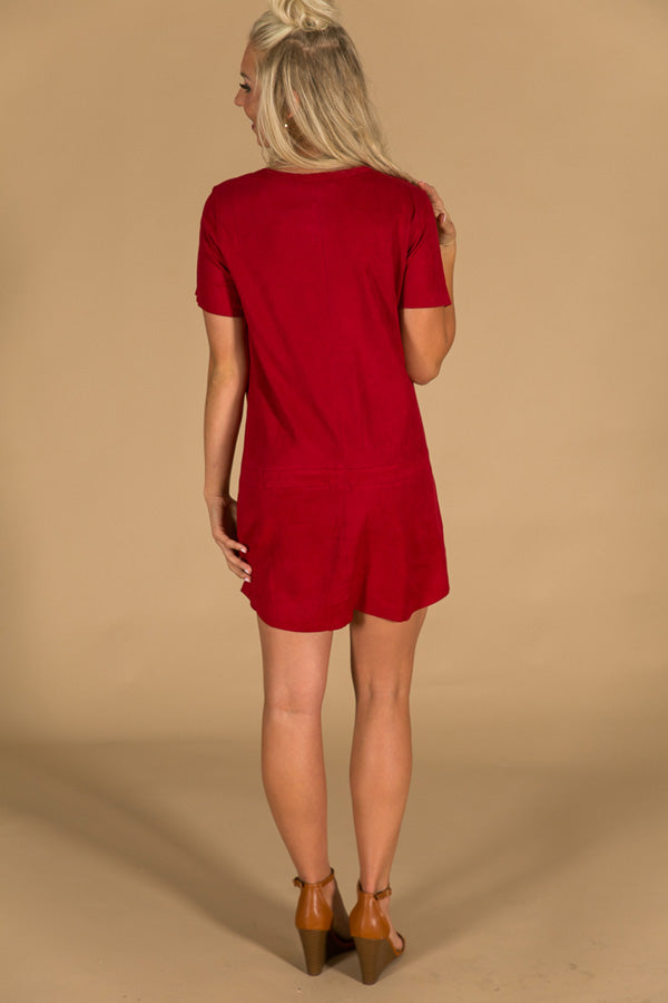 Soho Starlet Faux Suede Shift Dress in Crimson