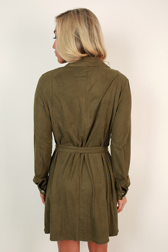 Meet Me in Manhattan Faux Suede Dress in Olive