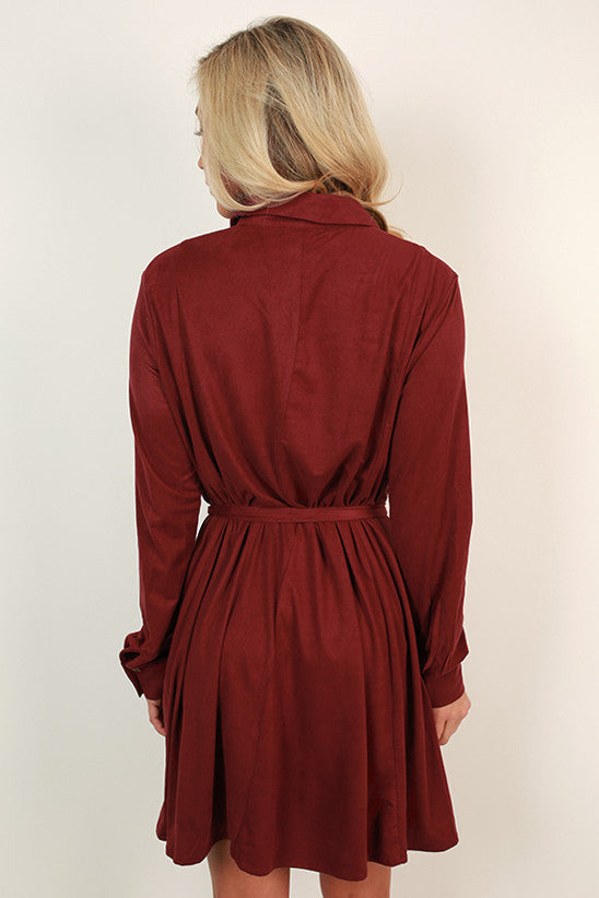 Meet Me in Manhattan Faux Suede Dress in Ruby Wine