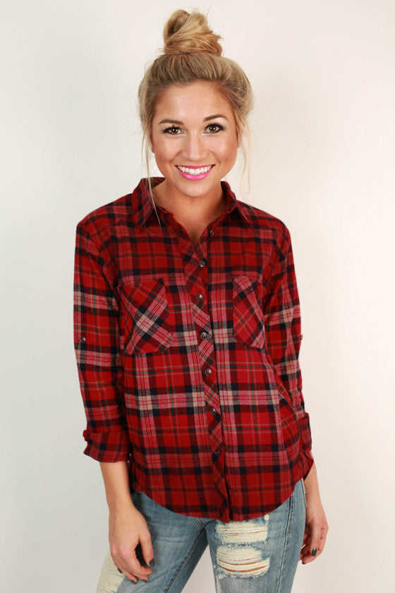 Cheers To Chill Days Flannel in Red