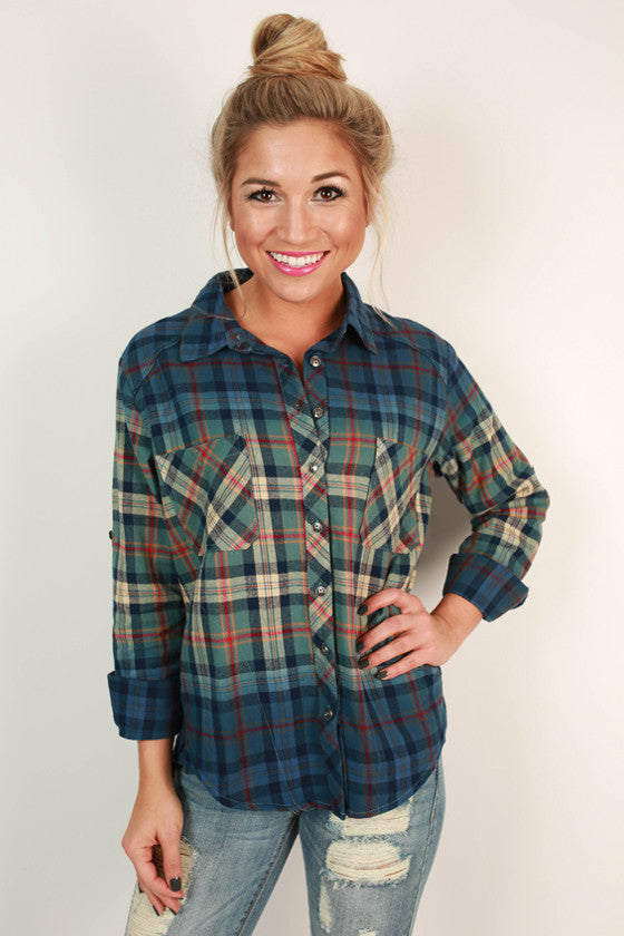 Cheers To Chill Days Flannel in Blue