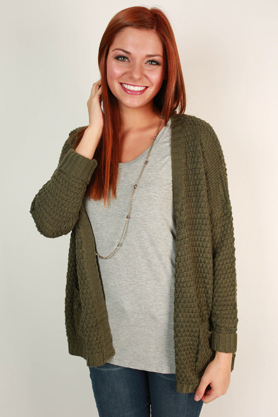 The Good Luck Cardigan in Army Green