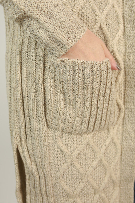 Cozy Charm Cardigan in Stone