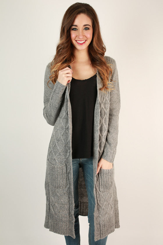 Cozy Charm Cardigan in Grey