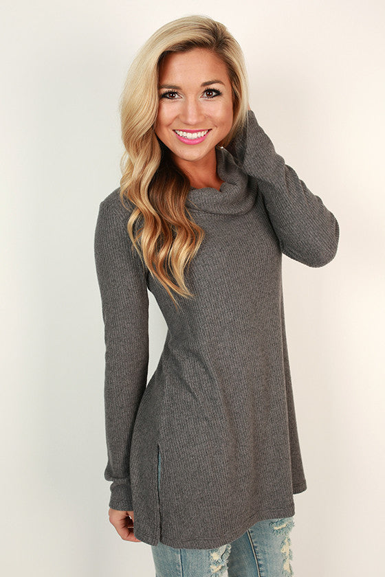 Always In Good Spirits Tunic in Dark Grey