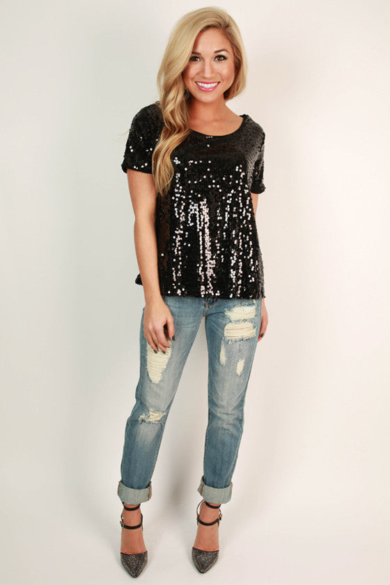Sparkle In The City Top in Black