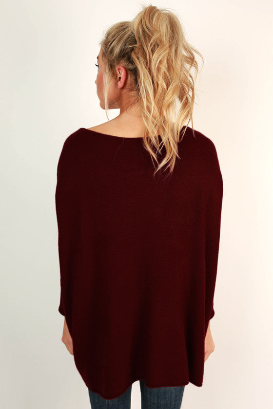 Latte Of Cozy Sweater in Maroon