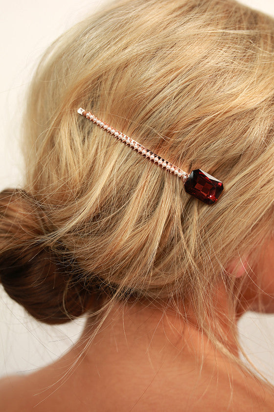 Season To Sparkle Hair Pin in Windsor Wine