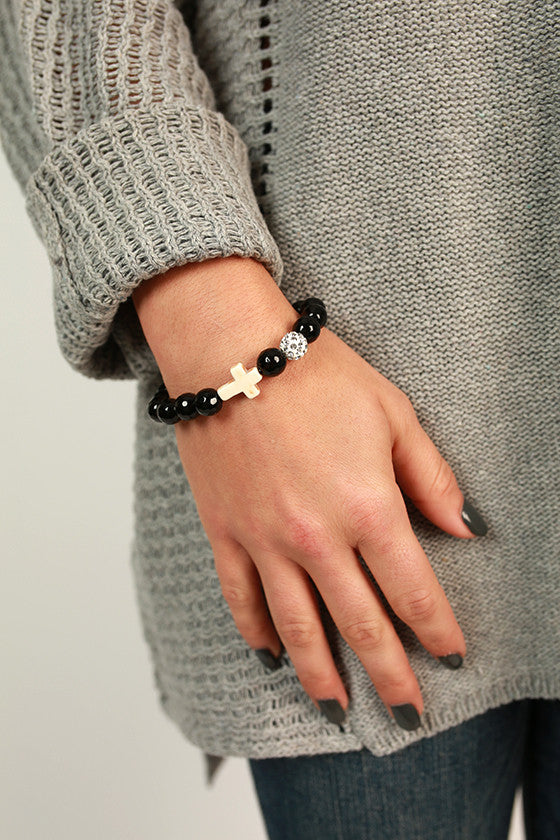 Fashion Week Cross Stackable Bracelet in Black