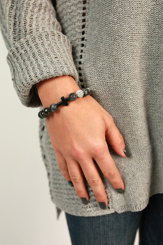 Fashion Week Cross Stackable Bracelet in Charcoal