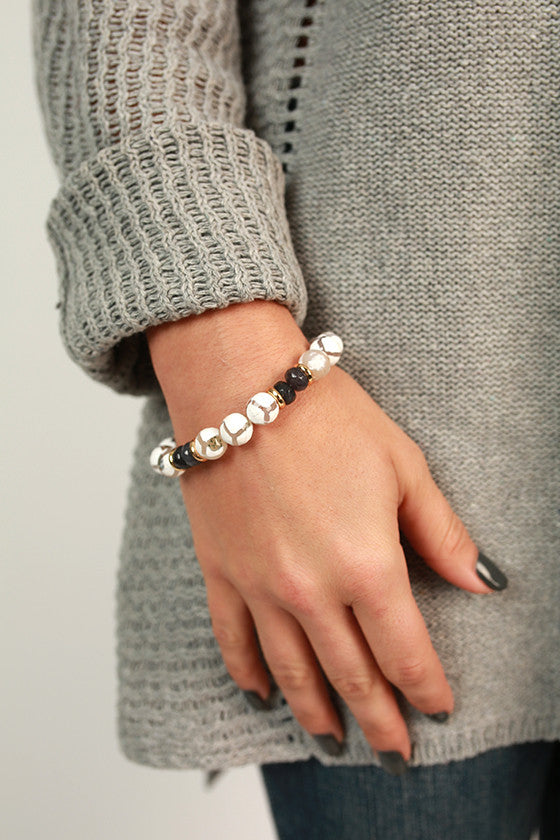 Fashion Week Marble Stackable Bracelet in White