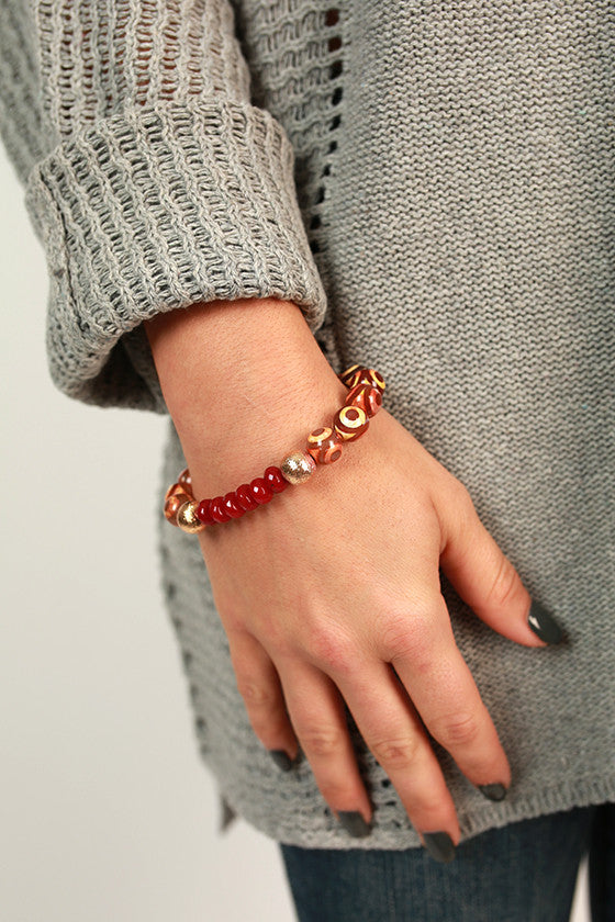 Fashion Week Marble Stackable Bracelet in Sangria