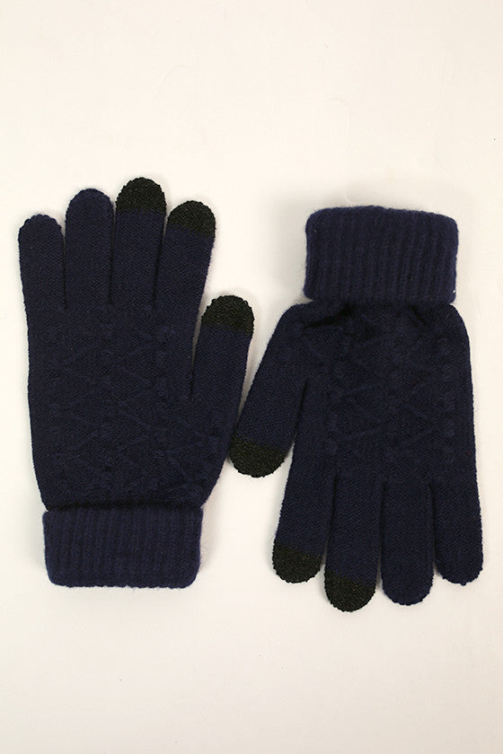 Let's Chat Tech Gloves in Navy