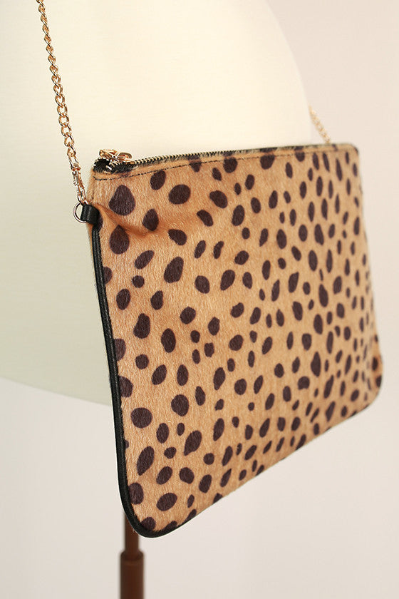 Times Square Cheetah Clutch