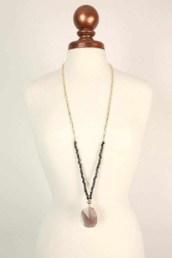 Fashion Obsession Stone Necklace in Dark Grey