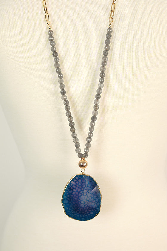 Fashion Obsession Stone Necklace in Blue