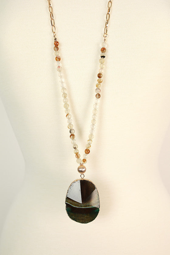 Fashion Obsession Stone Necklace in Teal