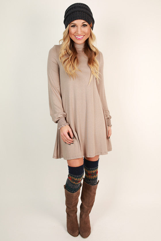 Perfect Poise Shift Dress in Light Taupe