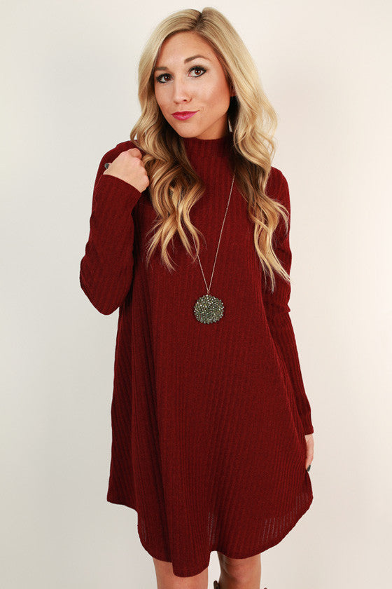 Merlot Moment Shift Dress in Maroon