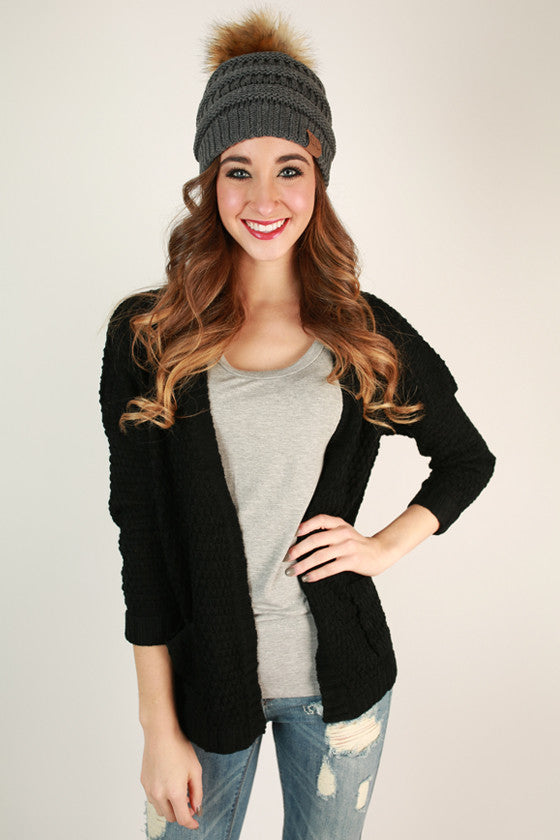 Beanie Beautiful with Faux Fur Pom in Dark Grey