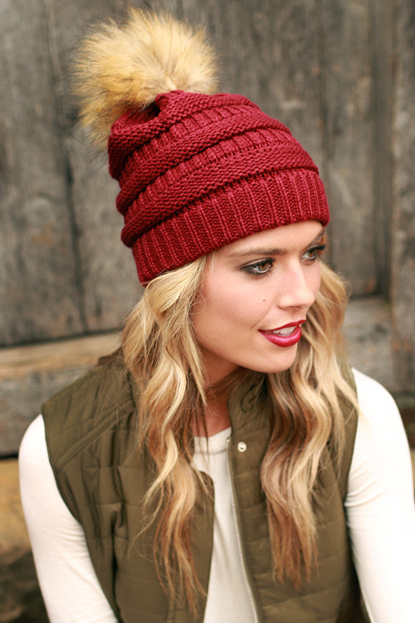 Beanie Beautiful with Faux Fur Pom in Crimson