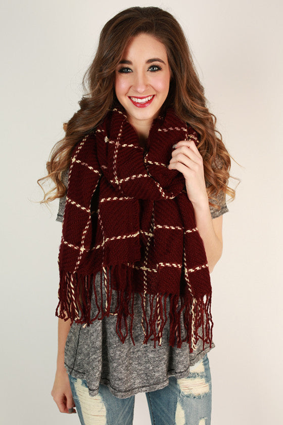 Cafe Play Date Check Blanket Scarf in Maroon
