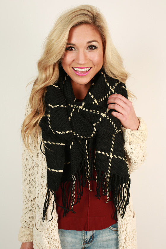 Cafe Play Date Check Blanket Scarf in Black