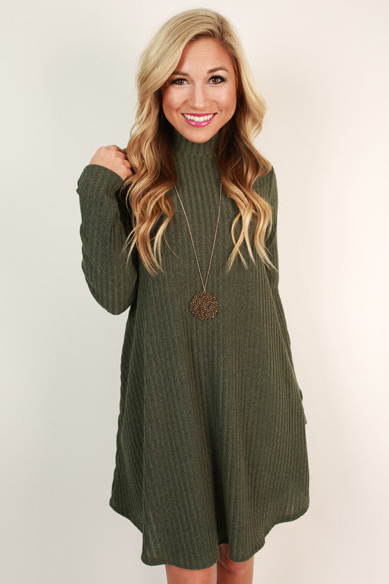 Merlot Moment Shift Dress in Army Green