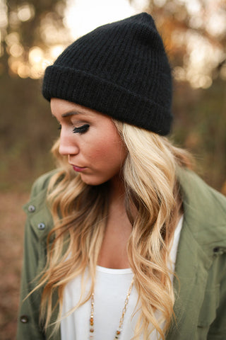 Warm Fuzzy Feelings Beanie in Black