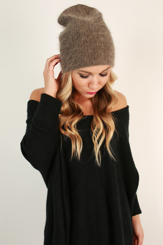 Warm Fuzzy Feelings Beanie in Dark Taupe