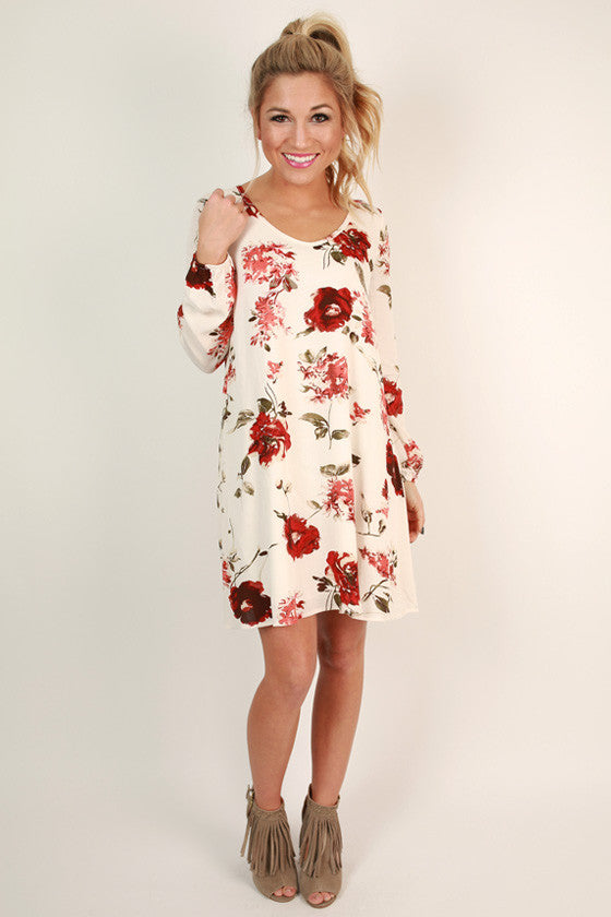 Winter Park Floral Shift Dress in Ivory