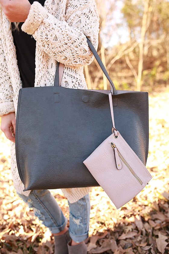 The Uptown Reversible Tote Bag in Charcoal