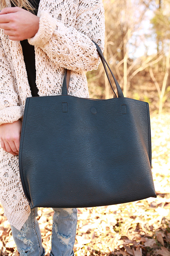 The Uptown Reversible Tote Bag in Dark Teal