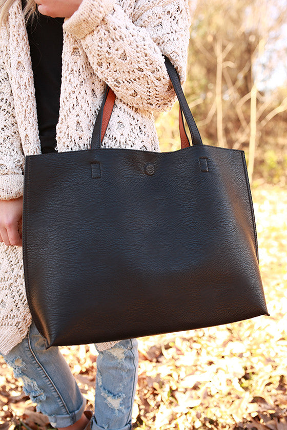 The Uptown Reversible Tote Bag in Black