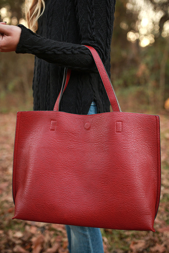 The Uptown Reversible Tote Bag in Rusty Red