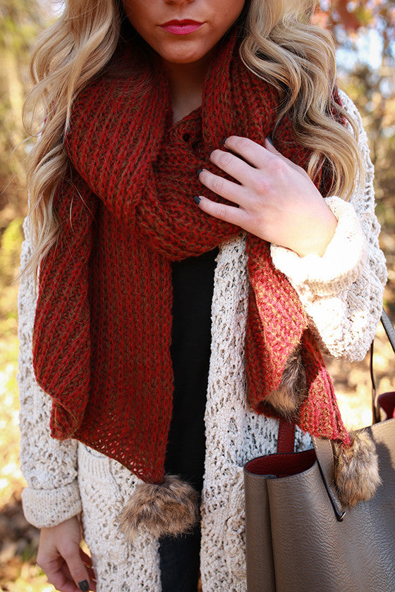 Pom Pom Pretty Scarf in Rusty Red