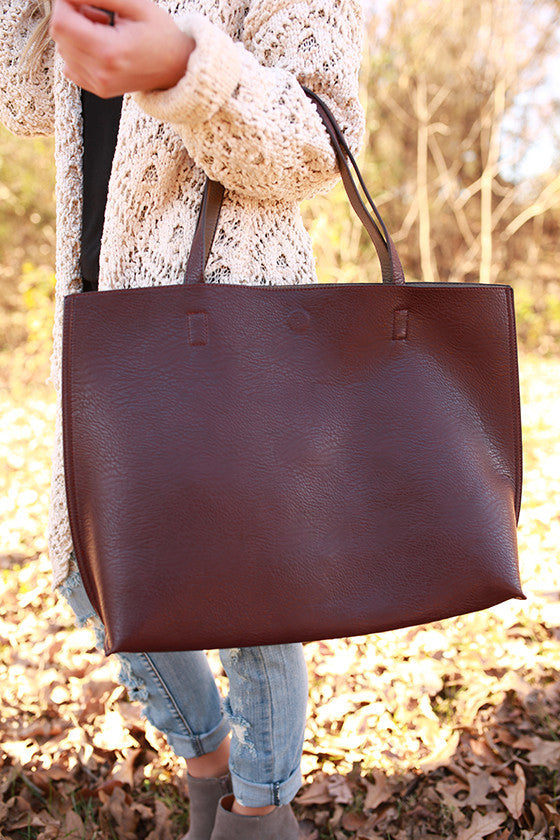 The Uptown Reversible Tote Bag in Windsor Wine