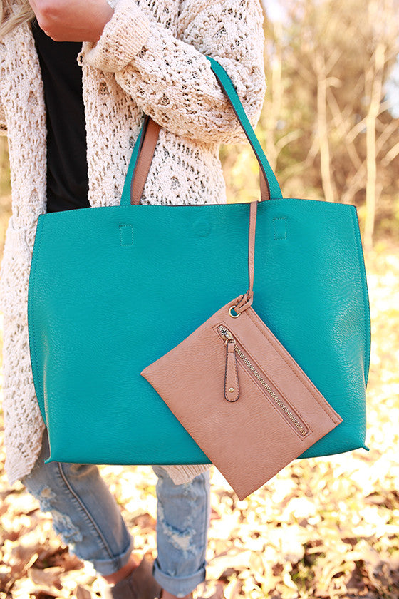 The Uptown Reversible Tote Bag in Turquoise