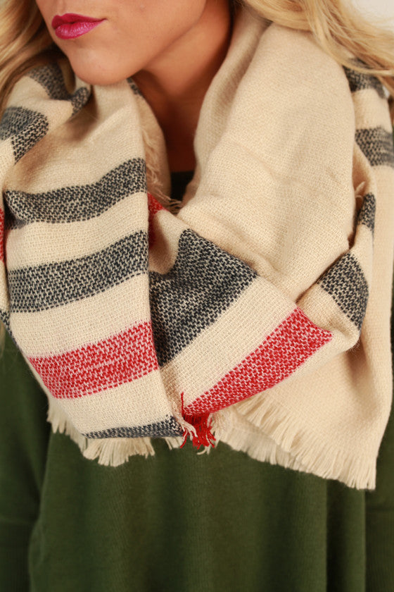 Sweet in Stripes Blanket Scarf in Stone