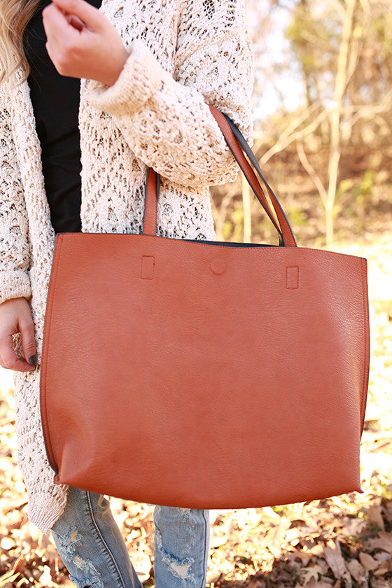 The Uptown Reversible Tote Bag in Pumpkin