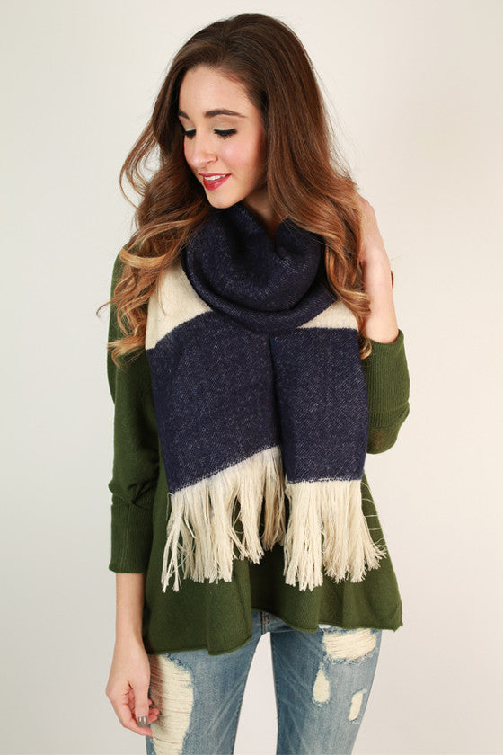 Stripes in The City Scarf in Navy
