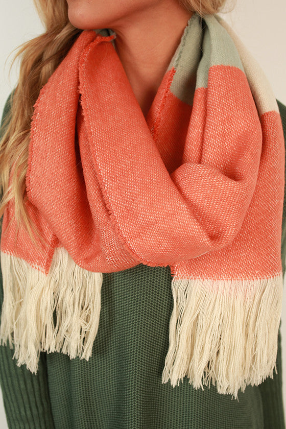 Stripes in The City Scarf in Nectarine